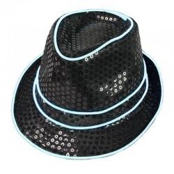 ProCart® Világító kalap, El Wire vezeték és flitterek, unisex, 3 megvilágítási mód