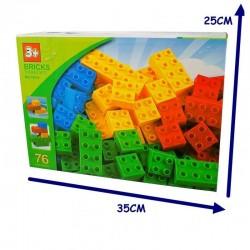 ProCart® Építő kockák, 76 színes darab, műanyag, 3 év +