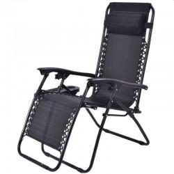 ProCart® Összecsukható napozóágy, széktípus, acél váz, állítható párna, 176x65x106, fekete