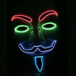 ProCart® Anonymous Vendetta maszk, többszínű El Wire, 3 megvilágítási mód, univerzális méret
