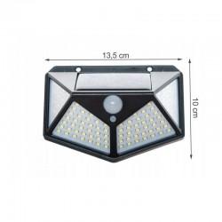 MT Malatec napelemes lámpa 100 LED-del, mozgásérzékelő, falra szerelhető, 3 fokozatú fényintenzitás, hidegfehér, IP67