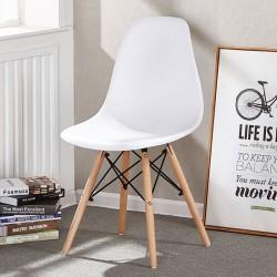 ProCart® Skandináv stílusú szék, fa lábak, csúszásmentes felület, ergonomikus, fehér