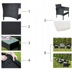 MT Malatec Kerti bútor szett, 4 db, asztal, fotelek, kanapé, rattan modell, fekete