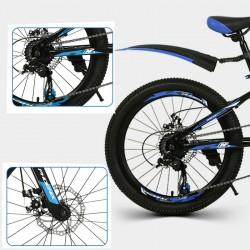 PHOENIX MTB kerékpár, 22 hüvelyk, 7 sebességes Shimano, acél váz, alumínium kerekek, kék