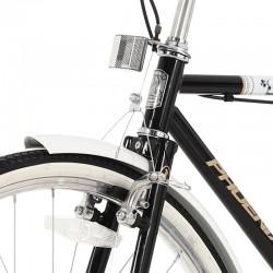 PHOENIX Városi kerékpár, 26 hüvelyk, acél váz, csomagtartó, vintage megjelenés, fekete