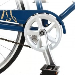 PHOENIX Városi kerékpár, 26 hüvelyk, acél váz, csomagtartó, vintage megjelenés, kék