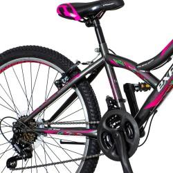 Explorer Női MTB kerékpár, 24 hüvelykes, acél váz, 18 sebességes, váltó, V-Brake