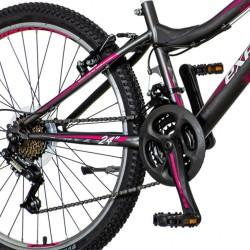 Explorer Magnito MTB kerékpár, nőknek, 24 hüvelykes, 18 sebességes Power, acél váz, V-Brake, szürke-rózsaszín