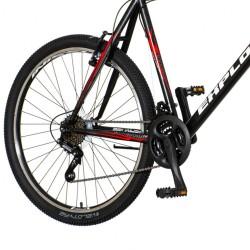Explorer Spark MTB kerékpár, 26 hüvelykes, V-fék, 18 sebességes Power, acél váz, fekete-piros