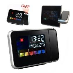 ProCart® LED-es óra, projektoróra, higrométer, hőmérő, naptár, riasztó, 3,7 hüvelykes LCD