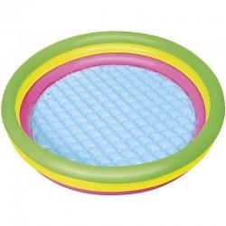 Bestway Felfújható medence gyerekeknek, 102x25cm, többszínű, 3 gyűrűs, puha padlóval