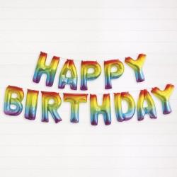 ProCart® Happy Birthday fólia léggömbök, magasság 40 cm, fém szivárvány hatás