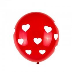 ProCart® szívvel nyomtatott latex léggömbök, 6 darabos készlet, piros-fehér