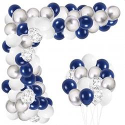 ProCart® Latex Léggömb készlet, kék ezüst fotósarok, 6 konfetti lufi, 50 darab