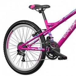 Explorer Spark MTB kerékpár, 24 hüvelykes, acél váz, 18 sebességes Power, V-Brake fék, rózsaszín