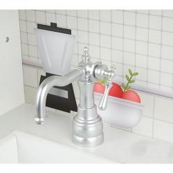 ProCart® gyerekkonyha, fehér MDF fa, sütő, hűtőszekrény, mosogató, főzőedények és serpenyők, 91x102,5x30 cm