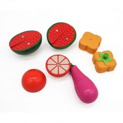 ProCart® Fából készült doboz készlet, gyümölcsök és zöldségek, szeleteléshez, aprítás, kések, mágneses markolat