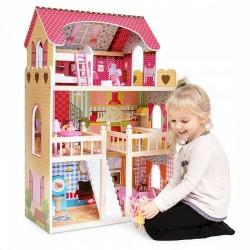 ProCart® babaház, fa, LED lámpák, belső lépcsőház, tetőtér, erkély, 14 db, 90x60x33 cm