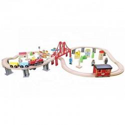 ProCart® favonat, vasút 110x60x30 cm, személygépkocsik, város, benzinkút, kórház, különféle fa alkatrészek