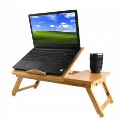 ProCart® laptop asztal, 14 hüvelykes, összecsukható, pohártartó, fiók, bambusz fa, 50x30 cm