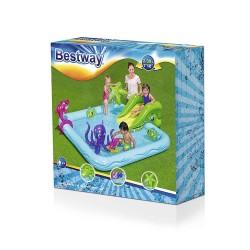 Bestway gyerek medence, tengeri állatokkal, csúszdával, 239x206x86 cm
