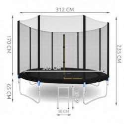 MT Malatec trambulin, átmérője 305 cm, acél váz, biztonsági háló és létra