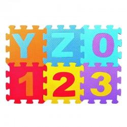 ProCart® Eva habszőnyeg puzzle számokkal és betűkkel, 36 db, 30x30 cm, vastagság 0,9 cm