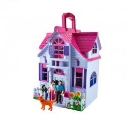 ProCart® Babaház, összecsukható, babacsalád, 6 szoba, bútorok és kiegészítők