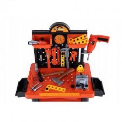 ProCart® Gyerek munkaasztal, 68x58x33 cm, műhely 50 építőelem, óra