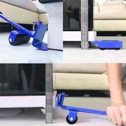ProCart® Készlet bútorok emelésére és szállítására, 4 kerékkel, csúszásgátló fogantyúkar, max 150 kg