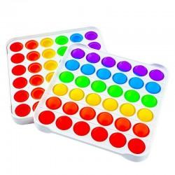 ProCart® POP IT stresszoldó játék, 36 sokszínű buborék ábécé és számok, 13x13 cm