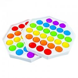 ProCart® POP IT stresszoldó játék, szilikonból, buborékok betűkkel és számokkal, szivárvány, 13x13 cm