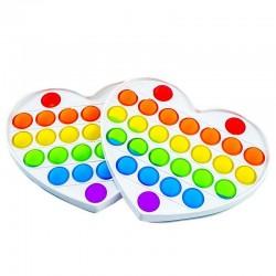 ProCart® POP IT szív játék, 27 többszinű szilikon buborékkal, érzéki játék, 15x13 cm
