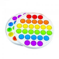 ProCart® POP IT stresszoldó játék, 28 sokszínű buborék, kör alakú, 3 éves +, 13x13 cm