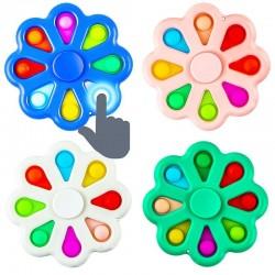 ProCart® POP IT Spinner típusú anti-stressz játék POP IT-el, virág 8 szilikon buborékkal, 9x9 cm