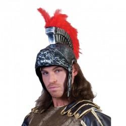 Funny Fashion Romái katona sisak, vörös tollakkal kiegészítve, ezüst, univerzális méret