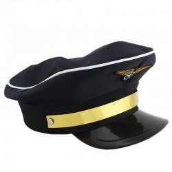 Funny Fashion Kapitány kalap, pilóta embléma, arany csíkos betét, felnőtteknek