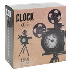 Segnale Retro fém óra, videokamera alakú állvánnyal és 2 filmtekerccsel, mérete 30x29x53 cm