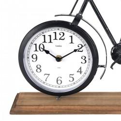 Excellent Fém asztali óra, kerékpárforma, fa tartó, mérete 42x7,5x28,5 cm