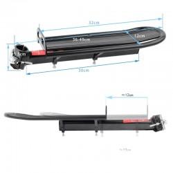 ProCart® Kerékpár csomagtartó, univerzális, alumínium, tartókonzol 25-34 mm, fekete