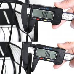 ProCart® Kerékpár kosár, fedéllel, fémes, elülső rögzítés, 28x21x19 cm, fekete