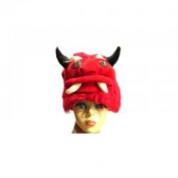 Funny Fashion ördög kalap szarvakkal, piros, textil