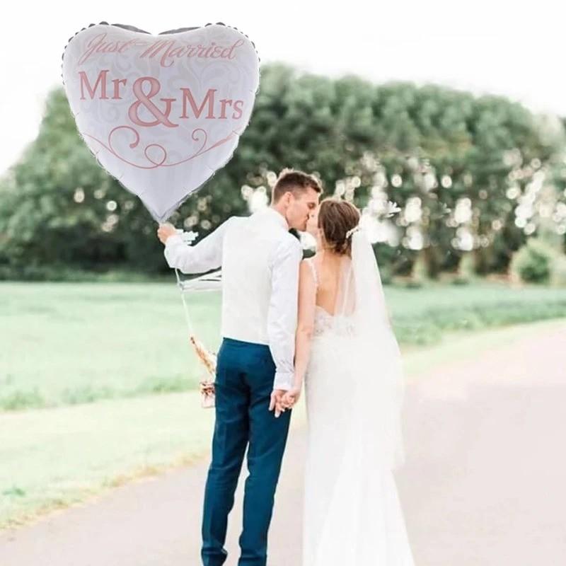 Funny Fashion Just Married Mr & Mrs lufi, szív alakú, alumínium fólia, fehér
