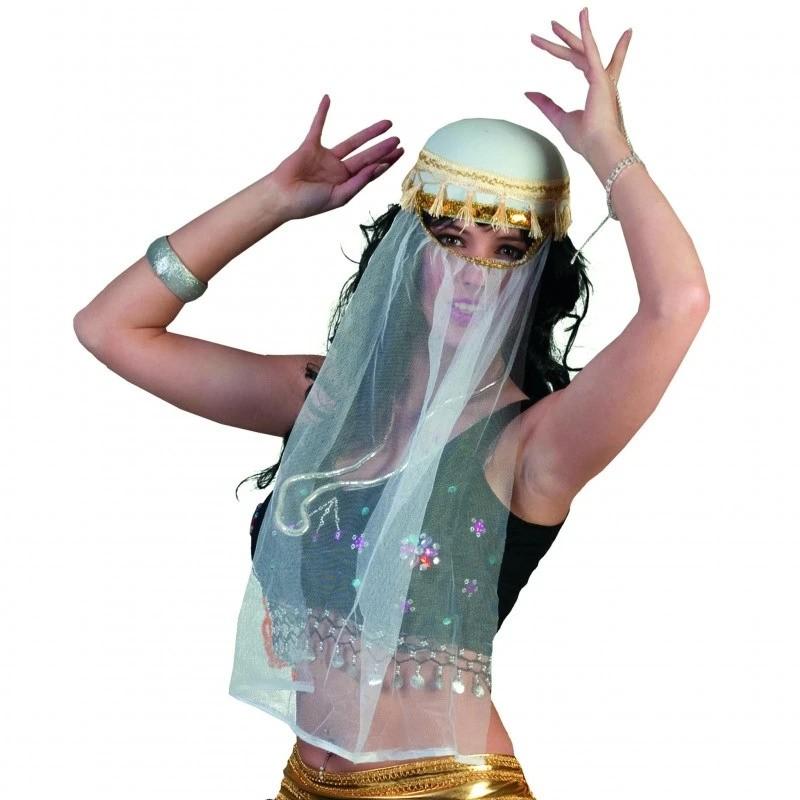 ProCart® Arab kalap fátyollal, flitterekkel díszítve, fehér, farsangi jelmez