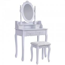 ProCart® Fésülködő és sminkasztal készlet, 75x40x143, 4 fiók, kárpitozott szék, tükör