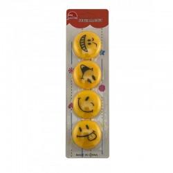 ProCart® Smiley Face mágnes, 4 cm átmérőjű, 4 különböző Emoji készlet