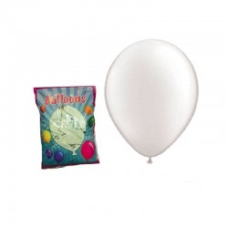 Set 100 baloane mari, forma ovala, alb, Funny Fashion