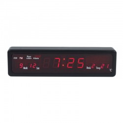 Ceas digital de perete, afisaj LED, AM/PM, data, termometru, Caixing