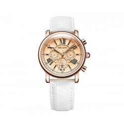 Ceas de Dama, quartz, cronograf, casual,  piele, alb,  Megir