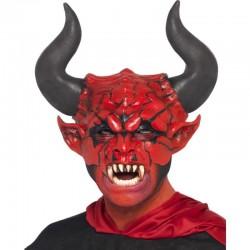 Masca horror Diavol cu coarne, marime universala, latex, rosu negru